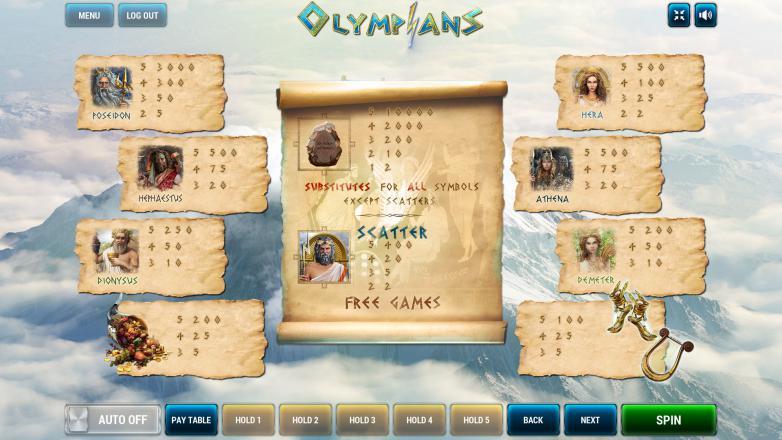 Изображение игрового автомата Olympians 3