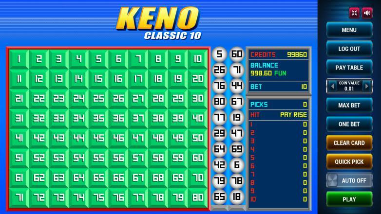 Изображение игрового автомата Keno Classic 10 1