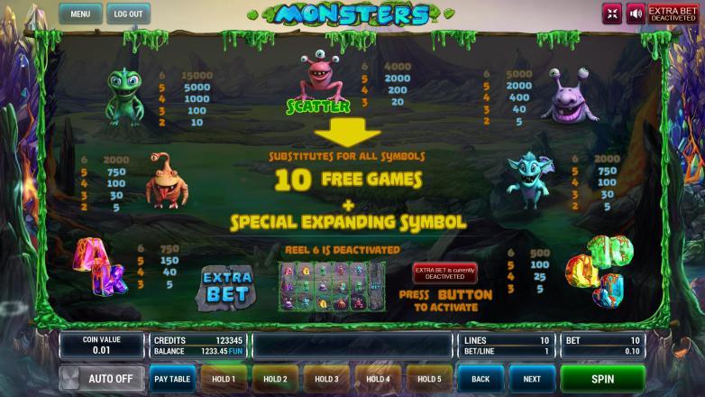 Изображение игрового автомата Monsters 3